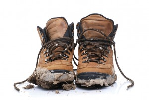 Dirty hiking boots